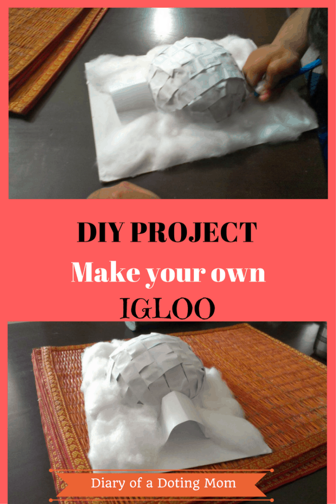 DIY: Make your own Igloo at home using half a coconut shell, paper strips, glue and a bit of creativity. Easy enough for the kids to do by themselves.