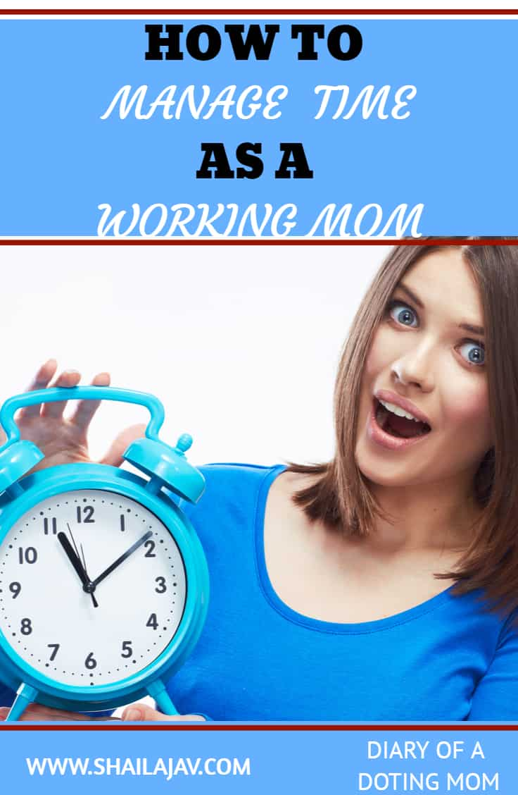 Woman in blue holding a blue clock in her hands and delighted, open-mouthed