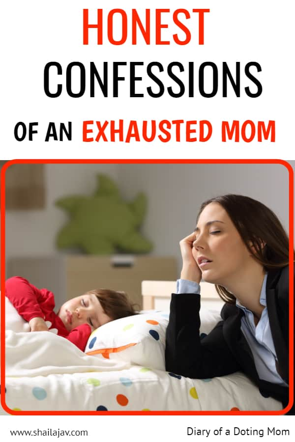 Exhausted working mom next to sleeping kid