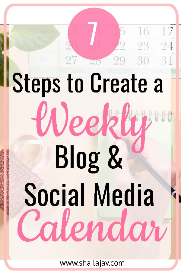 Blog and social media calendar for the week with tips on how to optimise your time to your benefit.