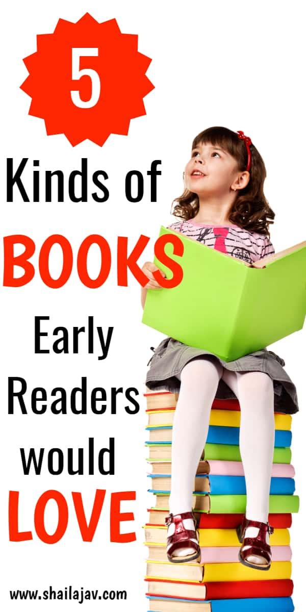 Little Girl sitting on books for early readers