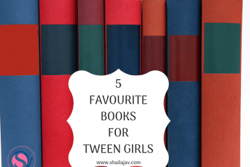 Books lined up in a row with red spines and blue spines. Text overlay reads '5 favourite books for tween girls'