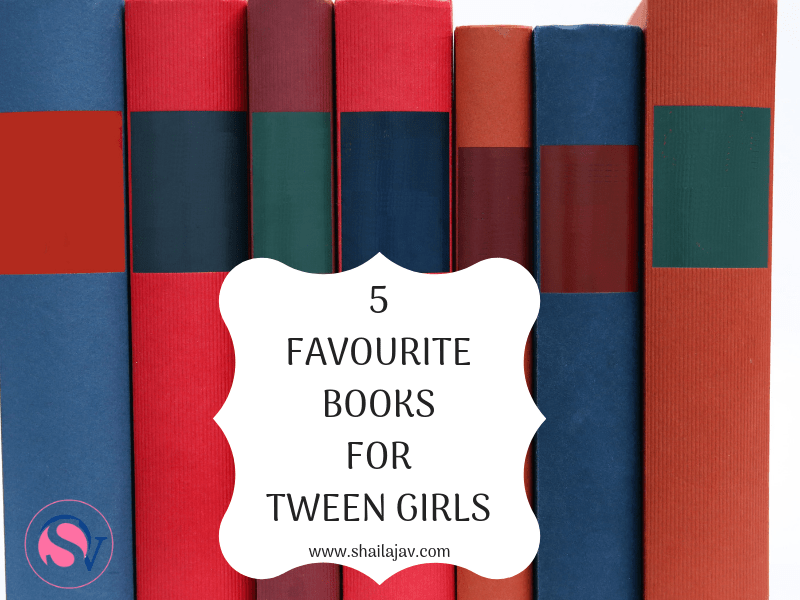 Books lined up with their spines facing outwards. 5 favourite books for tween girls is indicated on the text overlay