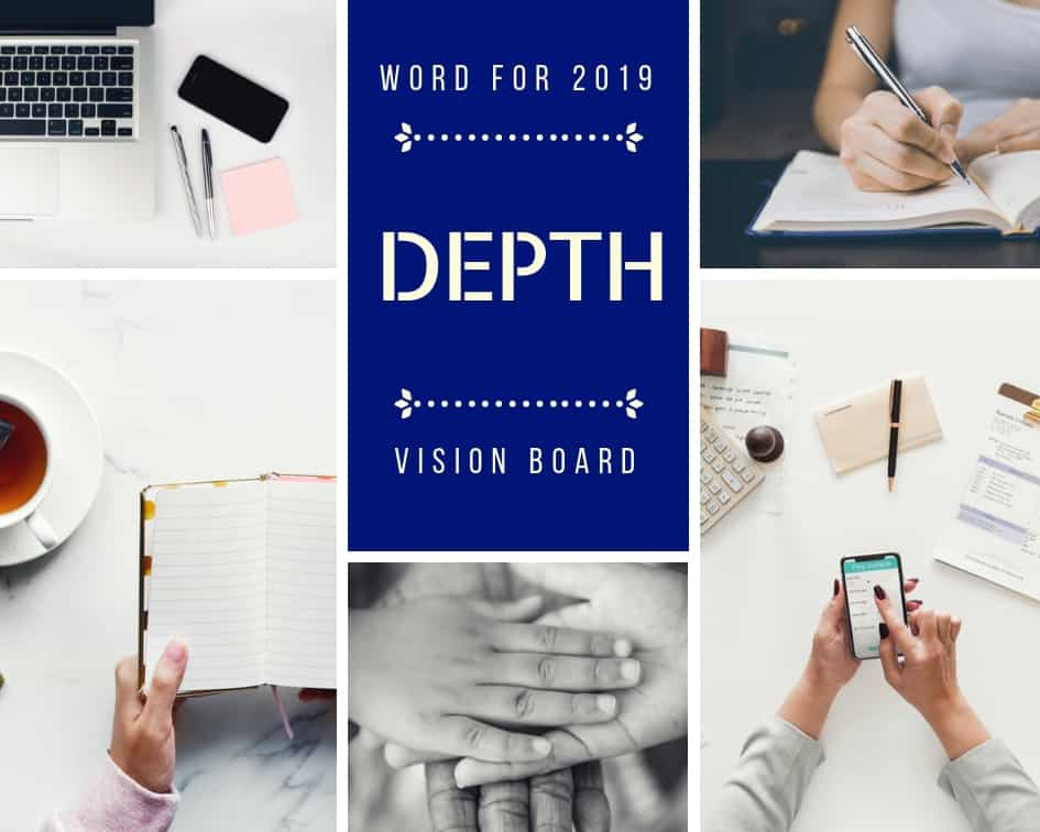 Vision Board and Word of the Year for 2019. Collage representing things that matter with the word 'Depth' at the centre.