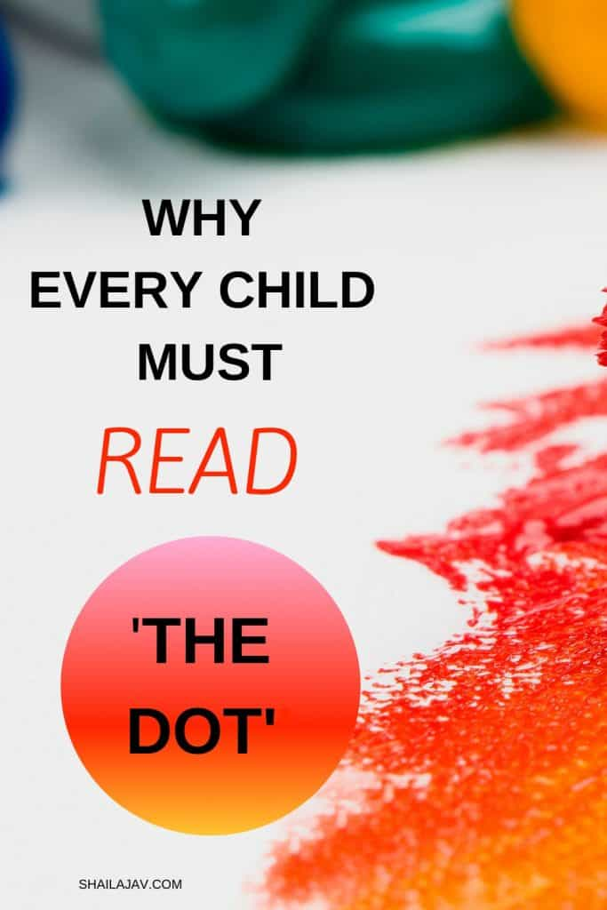 Red paint on a white background with text overlay that suggests every child must read the book, 'The Dot'