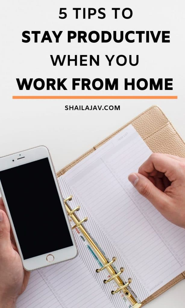 Mobile phone and diary flatlay with the text overlay: 5 tips to stay productive when you work from home