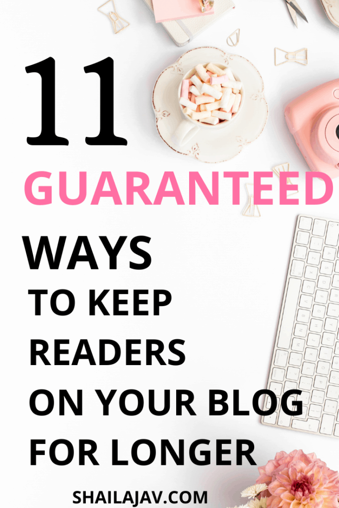 Flatlay of a laptop keyboard, marshmallows and a camera on a white background with text overlay on how to keep engaged readers on your blog.