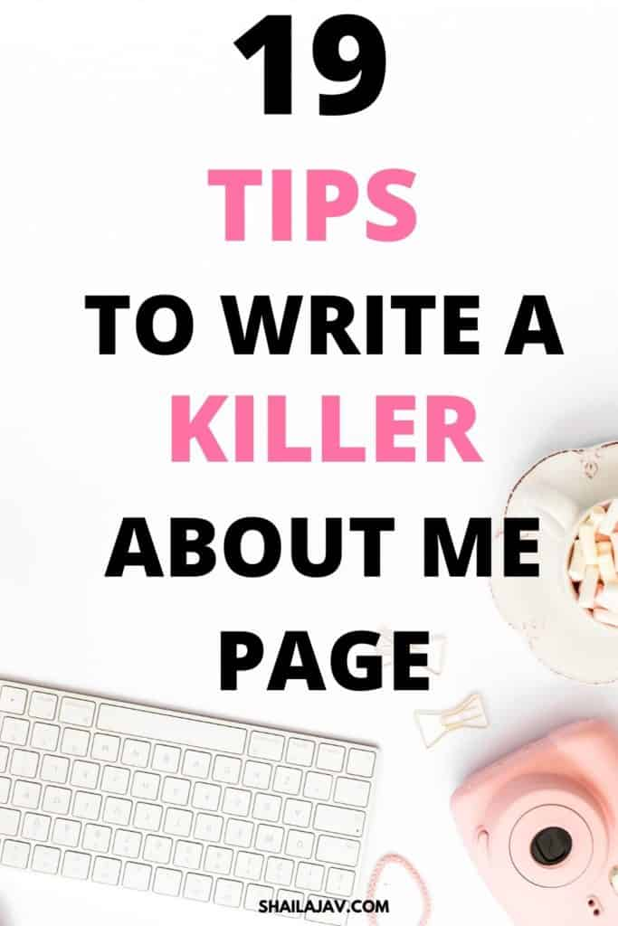 Flat lay image of a desktop keyboard, a camera and some flowers against a white backround. Text overlay reads 19 tips to write a killer about me page.