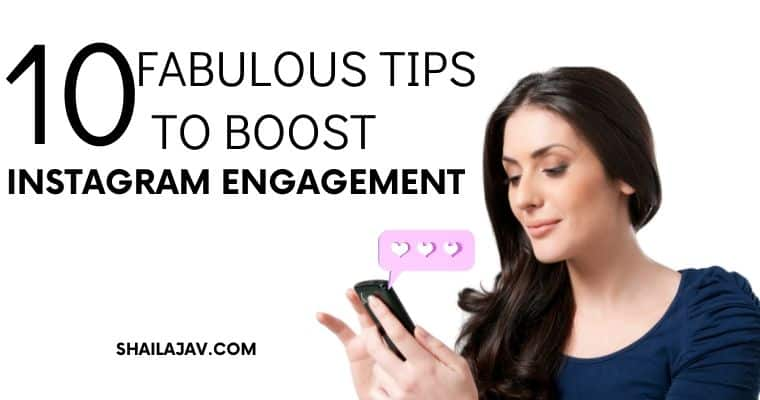 Woman looking at her phone and smiling;Text overlay refers to how to boost engagement on Instagram