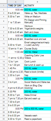 Screenshot of a time blocking schedule