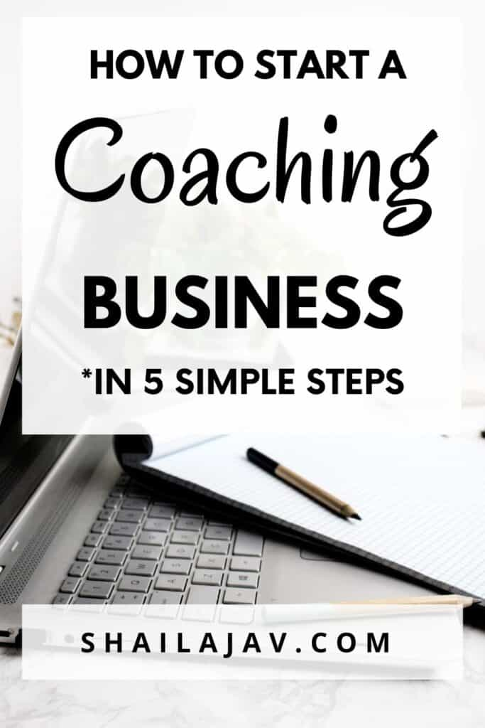 Laptop and notepad. The post talks about how to start a coaching business without the stress.