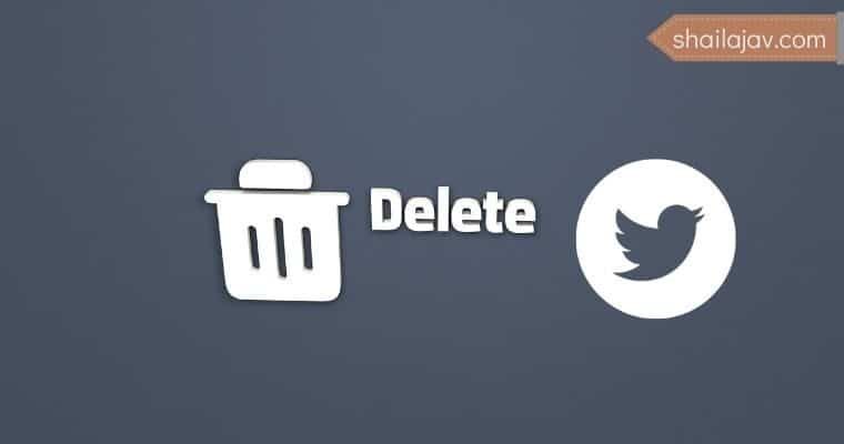 Trash bin with the word delete and the twitter icon next to it. Delete Twitter account