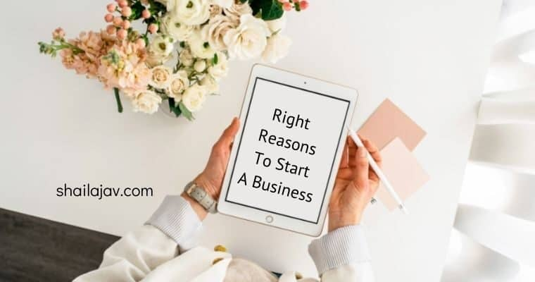 Woman's hands holding an iPad with the text on screen Right Reasons to start a business